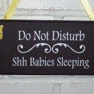 Do Not Disturb Shh Babies Sleeping Wood Vinyl Sign Door Hanger Baby Shower Gift
