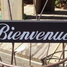 Bienvenue - French Paris Country Shabby Cottage Style Welcome Wall Door Hanger Wood Vinyl Sign