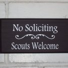 Whimsical Heritage Welcome Sign - No Soliciting Scouts Welcome Wood Vinyl Sign - Handmade Quality