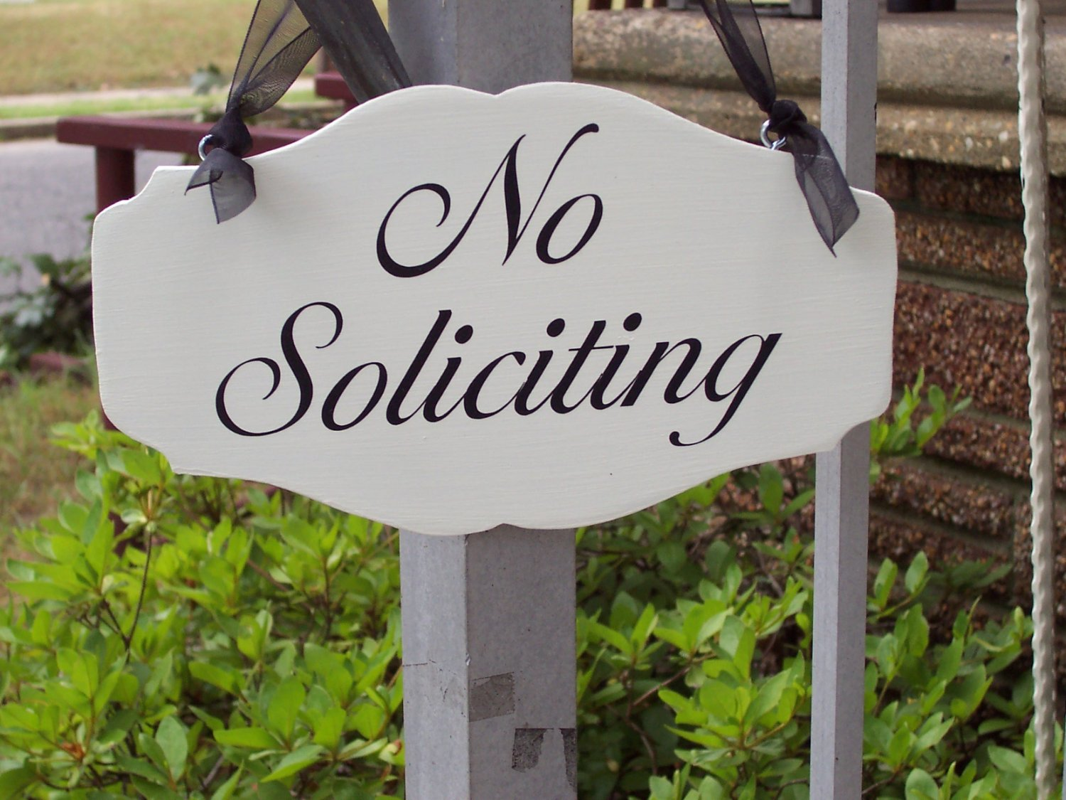 Victorian Shabby Cottage Chic No Soliciting Wood Vinyl Sign Door Hanger Wreath