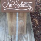 Whimsical Primitive Country No Soliciting Wood Vinyl Stake Sign - Yard Art Decoration