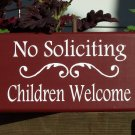 Whimsical Wood Vinyl Sign - No Soliciting Children Welcome Door Wreath Family Home Decor Sign