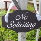 Elegant Vintage Chic Style No Soliciting Wood Vinyl Sign