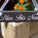 Bless This Nest Wood Vinyl Sign Whimsical Cottage Welcome Home Decor Door Hanger