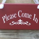 Primitive Rustic Ooak Please Come In Wood Vinyl Sign