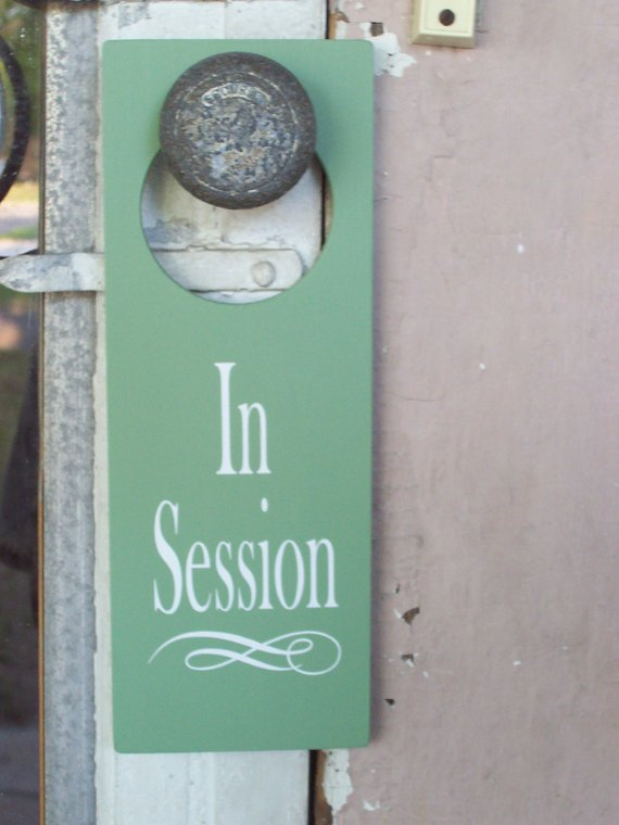 In Session Door Hanger - Business Retail Shop Spa Wood Vinyl Sign