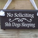 Whimsical No Soliciting Shh Dogs Sleeping Wood Vinyl Sign- Home Decor Pet Sign