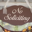 Country Shabby Cottage Chic No Soliciting Wood Vinyl Sign Door Hanger Wreath