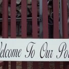 Welcome To Our Porch Whimsical Shabby Cottage Wood Vinyl Sign