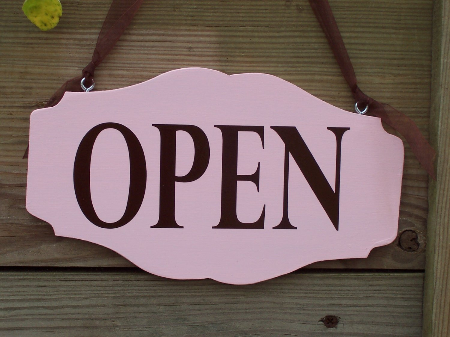 Open Closed Retro Pink Wood Vinyl Sign Business Office
