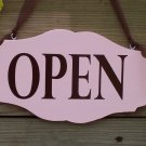 Open Closed Retro Pink Wood Vinyl Sign Business Office Retail Shop Sign