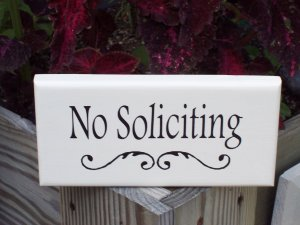No Soliciting With Flourish Wood Vinyl Sign Whimsical Elegance