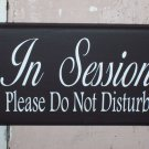 Whimsical Shabby Cottage Wood Vinyl Sign With Ribbon - In Session Please Do Not Disturb