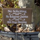 No Soliciting No Religious Queries Shh Dogs Sleeping Wood Vinyl Sign Metal Stake Yard Garden Outdoor