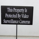 This Property Is Protected By Video Surveillance Cameras Wood Vinyl Sign - Garden Metal Stake Sign