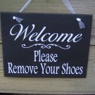 Welcome Please Remove Shoes Wood Vinyl Sign Door Hanger Plaque Home Decor