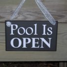 Pool Open Closed Wood Vinyl Sign Two Sided Home Garden Gate Plaque