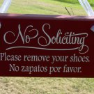 No Soliciting Please Remove Your Shoes No Zapatos Por Favor Wood Vinyl Sign Retro