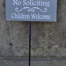 No Soliciting Children Welcome Wood Vinyl Stake Rod Sign Boy Girl Scout Kid