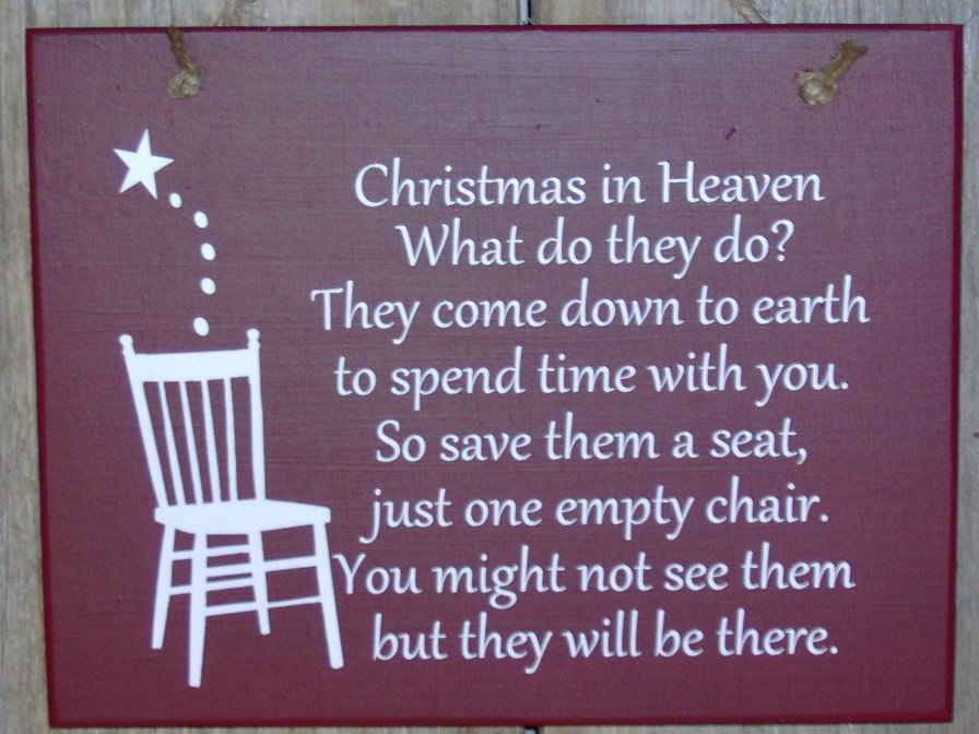 christmas in heaven seat chair wood vinyl sign holiday memories merry wall hanging