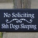 No Soliciting Shh Dogs Sleeping Wood Vinyl Sign Yard Art Premises Property Gate Fence Door Hang