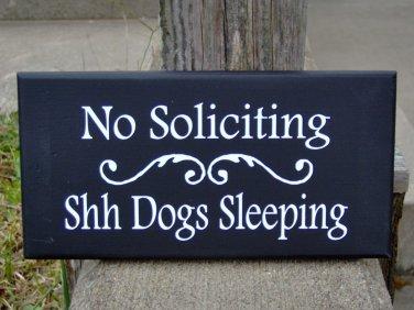 No Soliciting Shh Dogs Sleeping Wood Vinyl Sign Yard Art Premises Property Gate Fence Door Hang