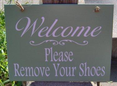 Sign Welcome Please Remove Shoes Wood Vinyl Plaque Home Decor Door Hanger