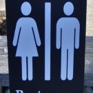 Bathroom Sign Restroom Sign Wood Vinyl Signs Unisex Family Home Industrial Office Business