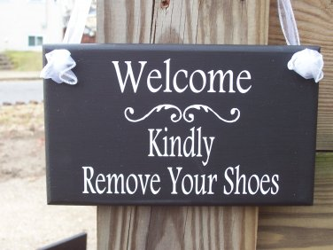 Welcome Kindly Remove Your Shoes Wooden Vinyl Sign Home Decor Door Hanger Black White Plaque