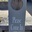 Please Come In Door Knob Hanger Sign Office Business Wood Vinyl Sign Available Door Handle Sign