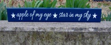Apple Of My Eye Stars In My Sky Wood Vinyl Sign Blue Kid Bedroom Room Wall Hanging