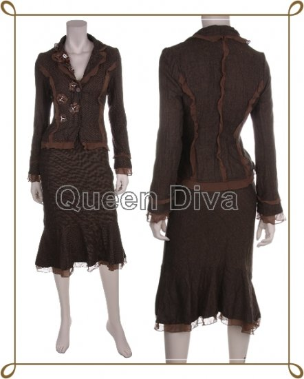 Women's Ladies Brown Wool Skirt Suit Blazer Jacket Outfit Set Size Small
