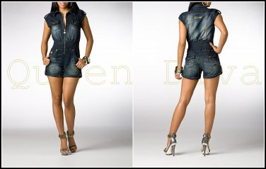 e673f5752e07 Dereon 4 Ever Dark Denim Jean Studded Short Romper Jumpsuit Jumper M 5 6-7 8