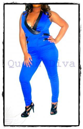 2b7da819c1b8 Royal Cobalt Blue Knit Sailor Military Tuxedo Jumpsuit Jumper Romper  Playsuit Small S