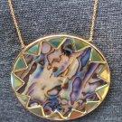 """House of Harlow 1960 ABALONE SHELL Sunburst 27"""" Pendant Necklace, New"""
