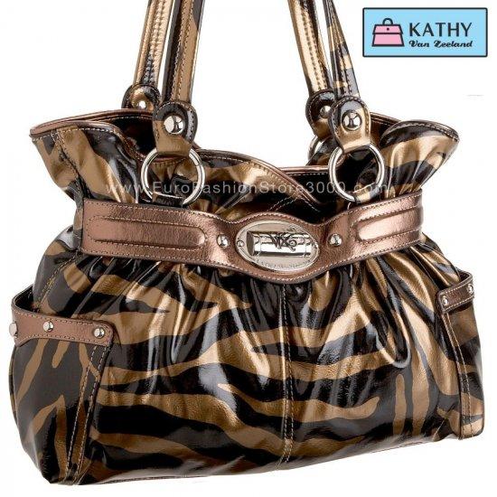 KATHY VAN ZEELAND H41606 Poseidon Belt Shopper Bronze Zebra 17806 (Animal Print) Handbag