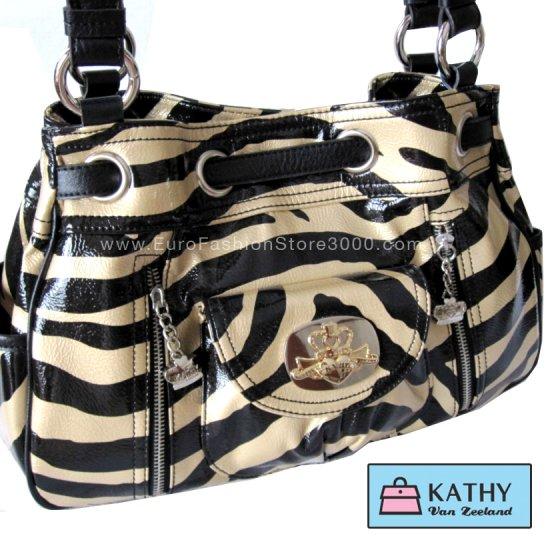 KATHY VAN ZEELAND H32804 Marquee Draw String Shopper Latte (Beige) Zebra Animal Print Handbag Spring