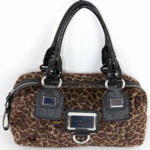 GUESS FU227517 Black Rachelle Zoo (Fur Animal Print) Satchel Handbag