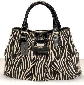 GUESS LI034202 Ebony Serengeti (Black Zebra Animal Print) Tote Handbag