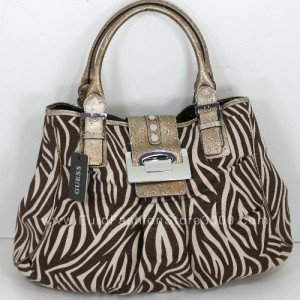GUESS LI034202 Brown Serengeti (Brown Zebra Animal Print) Tote Handbag