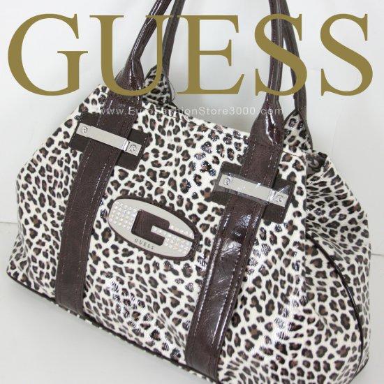 Guess LE209622 Black Brown White Glow Candy Leopard Animal Print Tote Handbag