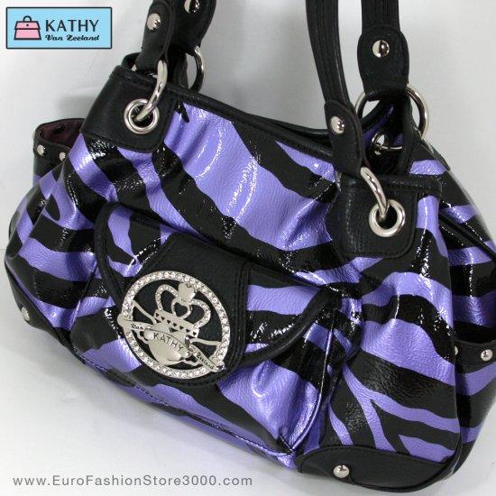 KATHY VAN ZEELAND H31245 Grape (Purple) Shiners Ring Shopper (Crown Princess Zebra Animal Print)