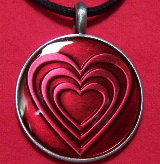 Pewter Fuchsia Heart Pattern Round Pendant Necklace