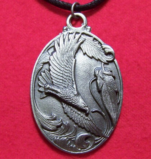 Pewter American Soaring Bald Eagle w/ Feathers Pendant