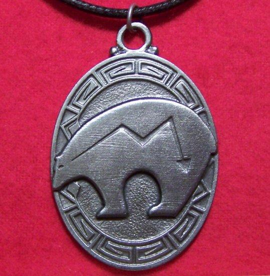 Pewter Zuni Heartline Bear Tribal Pendant Necklace U.S.A.
