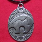 Pewter Zuni Heartline Bear Tribal Pendant Necklace U.S.A.