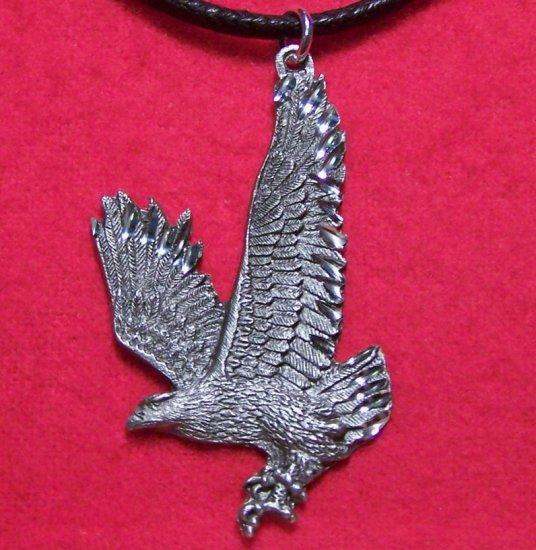 Fine Pewter Flying Full Body Bald Eagle Pendant Necklace