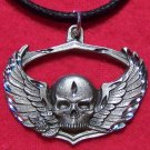 Fine Pewter Biker Skull with Wings Pendant Necklace U.S.A.