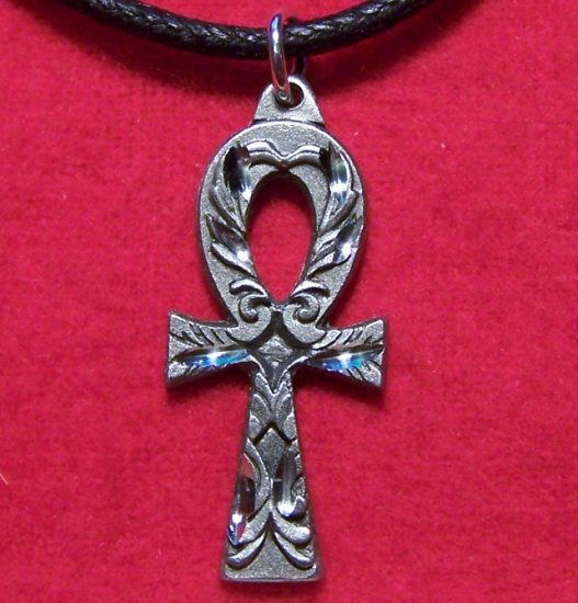 Fine Pewter Egyptian Ankh Pendant Necklace Made in U.S.A.