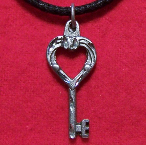 Fine Pewter Key to the Heart Pendant Cotton Necklace U.S.A.